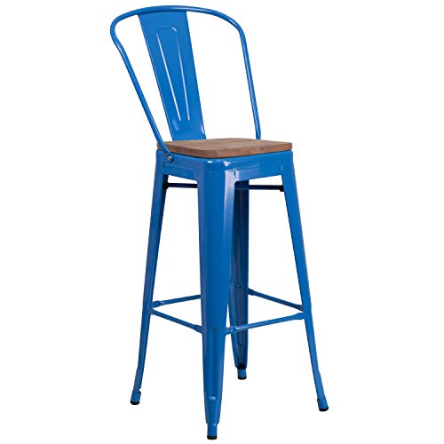 Taylor + Logan 30 Inch High Metal Barstool with Back and Wood Seat, Blue