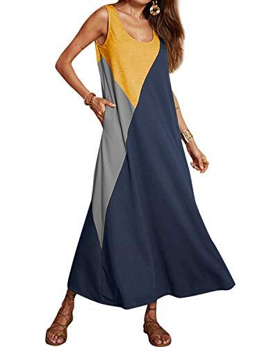 YOINS Maxikleider Damen Strandkleid Sommerkleid für Damen Lang Rundhals Patchwork Sexy Kleid Dunkelblau S