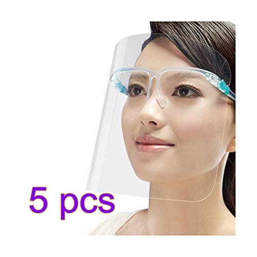 5 Cubierta Protectora De La Cara Par con El Blindaje Cómodo Protección De La Cara Llena Compatiable con Anti-Gota Lentes Anti-contaminación Y Transparente a Prueba De Viento