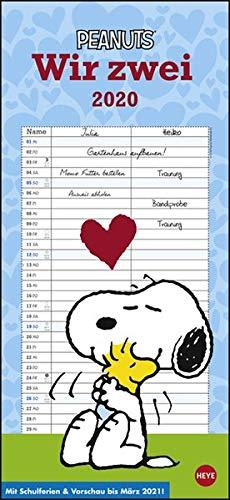 Peanuts Planer Wir zwei. Wandkalender 2020. Monatskalendarium. Spiralbindung. Format 16 x 34,7 cm