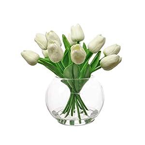 Home Decor 4 U – Flores artificiales tulipanes en un florero, planta artificial, flor falsa, tulipán artificial, florero…