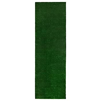 Sweethome Meadowland Collection Indoor and Outdoor Green Artificial Grass Turf Runner Rug 2 7  X 9 10  Green Artificial Grass/Pet mat with Rubber Backed