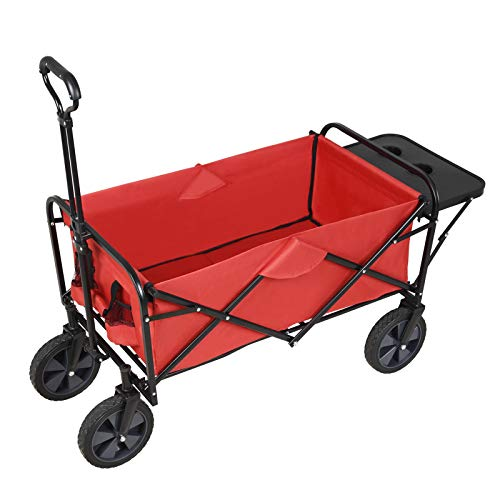 SUNCOO Folding Push Wagon Cart, Collapsible Outdoor Utility Camping Grocery Wagon, Sturdy Portable Rolling Lightweight Patio Garden Cart with Folding Table and Drink Holders, Gardening, Red