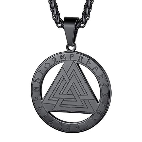 FaithHeart Colgante Valknut Triángulo Collar Modena Pequeña Metálico Negro para Hombres y Mujeres Guerrero Nórdico