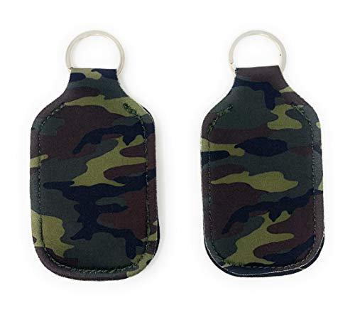 Hand Sanitizer Holder for Backpack Kids Travel Size Baseball Softball Keychain (Camo, Pack of 2)