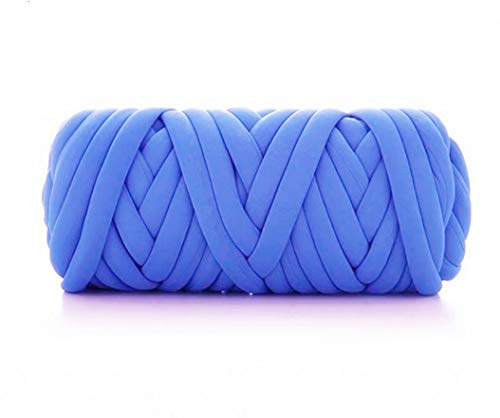 Arm Knit Yarn for Blanket, Hand Knitting, Jumbo Yarn, Chunky Knit Cotton Tube Yarn Super Soft Washable Bulky Giant Yarn for Extreme DIY (Blue, 1.3 lbs / 23 Yards)