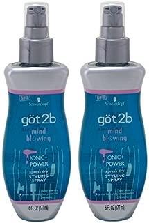 Got2b Mind Blowing - Ionic Power Xpress Dry Styling Spray - Net Wt. 6 FL OZ (177 mL) Each - by Got2b