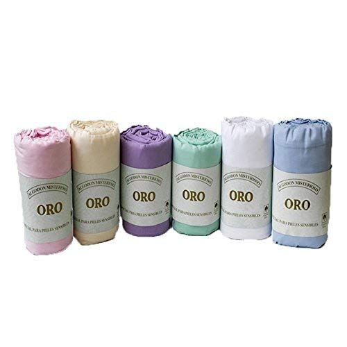 Serie Oro Sábanas bajeras 100% Algodón Color Blanco. (150cm)