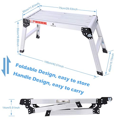 Aluminium Work Platform 30in with Carry Handle 330 lb Duty Rating, Portable Folding Step Ladder Anti-Slip Workbench for Washing Vehicles, Ceiling/Windows Cleaning, Painting, Wallpapering, Decorating
