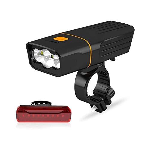 XTZJ Luces de bicicletas recargables y luz trasera, conjunto de luz de bicicleta LED 2400 MAH Power Bank, 800lm, 3 + 5 modos de luz, IPX5 impermeable, luces de bicicleta de montaña para montar por la