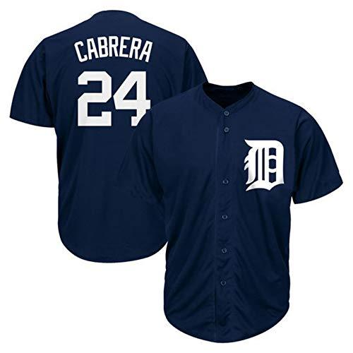 Cabrera Baseball Shirt Detroit Tigers # 24, Herren Druck Baseball Trikot, Kurzarm Spiel Team Uniform Button Top (M-XXXL)-XL