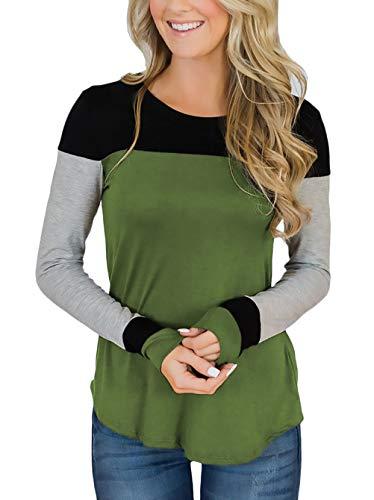 Camisetas Mujer Basicas Señoras Cuello Redondo Otoño Splice Shirts Mode De Marca...