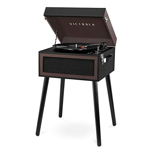 Victrola Bluetooth Record Player Stand with 3-Speed Turntable, Black and Brown