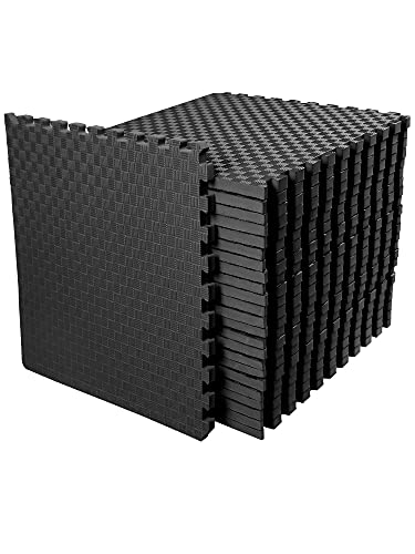 """BalanceFrom 1"""" Extra Thick Puzzle Exercise Mat with EVA Foam Interlocking Tiles for MMA, Exercise, Gymnastics and Home Gym Protective Flooring, 72 Square Feet (Black)"""