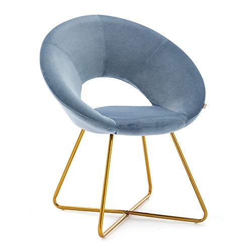 HNNHOME® Porto Soft Velvet Upholstered Kitchen Dining Chair Home Living room Lounge Armchair Leisure in Gold coloured Legs (Light Blue)