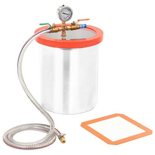 vidaXL Vakuumkammer mit Deckel Entgasungskammer Harzfalle Vacuum Chamber Vakuumpumpe Unterdruckpumpe Vakuum Pumpe Edelstahl 11,42L 24,5x27cm 1/4 Zoll