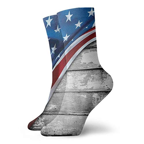 American Flag Funny Compression Socks Women and Men,Close Up Design Flag Over Antique Rustic Rippled Board Federal Country,Best for Circulation,Running,Athletic,Nurse,Travel,Grey Navy -12 inch
