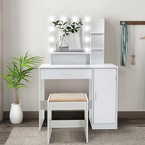 Makeup and Vanity Table with Storage Cupboard