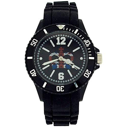 Union Jack Crown Quartz Dial Unisex Fashion Rubber Black Strap Watch UJ24B