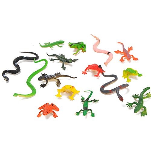 15er Set Reptilien ca. 4-8cm - Schlangen, Frösche, Echsen, Geckos etc.