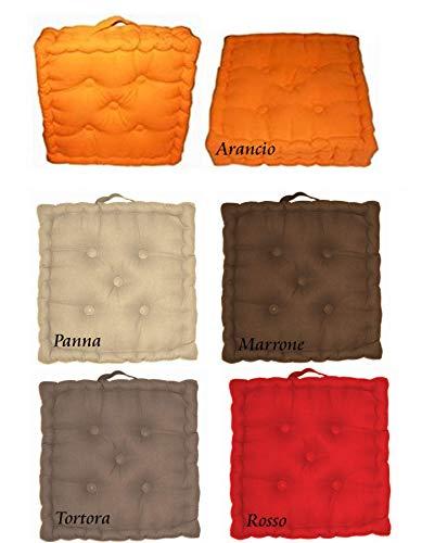 Cuscino Materasso Futon Arredo Sedia Divano Pavimento Tessuto Effetto Panama Tinta Unita (Rosso, 60x60)