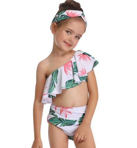 Bandeau Bikini Damen Set One Shoulder Badeanzug Push Up Mädchen Bademode Frauen Bikini Shorts mit Oberteil Übergröße Bikinis Badeanzüge Badekleid Strandkleidung Badebekleidung Große Größen Grün 140