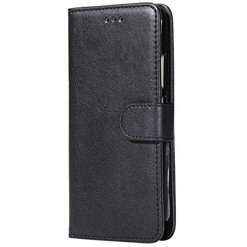Bear Village® Hülle für Huawei P10, Flip Leder Handyhülle Tasche mit Kartensfach, TPU Innere Ledertasche, 360 Grad Voll Schutz, Schwarz