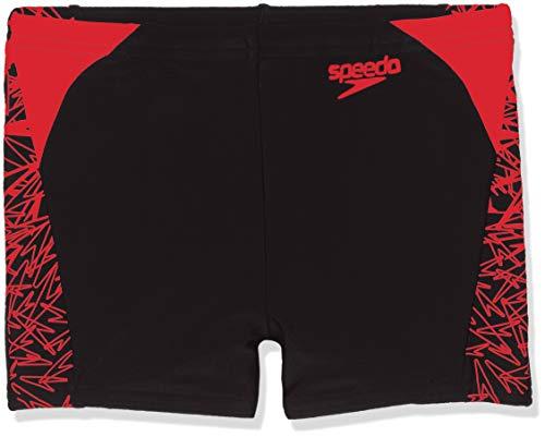 Speedo Jungen Boom Splice Print Badehose, Schwarz/Feuerwehr-Rot, 116 cm (5-6 Jahre)