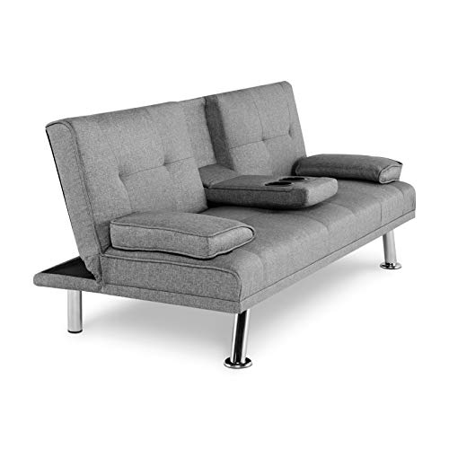 Trintion Sofa Bed 3 Seater Click Clack Sofabed with 2 Cup Holders Recliner Linen Fabric Settee Couch for Living Room, Bedroom, Guest Room