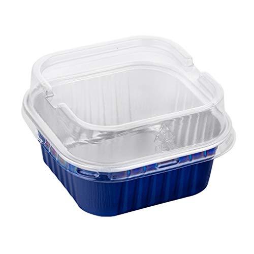ZYYQ Einweg-Brotdose mit Deckel,Zinnfolie Aluminiumfolie Brotdose,Mikrowelle,Offene Flamme,Grillbox,Blau