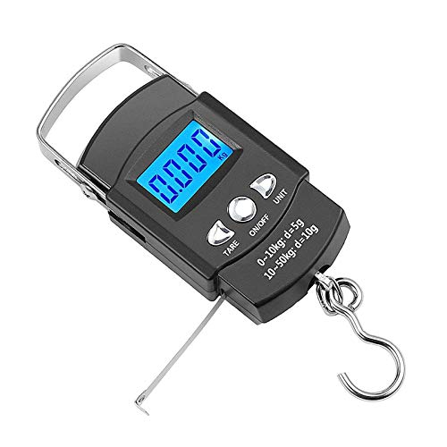 Gonoker Digital Fishing Scale 110lb/50kg, Hanging Scale Portable Dial Scale, Tape Measure with Backlit LCD Display - Weigh Your Catch Quickly, Easily & Accurately, 2 AAA Batteries Included (Black) …