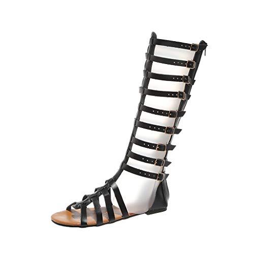 Damen Gladiator Sandalen Flach Sommer Strand Römisch Schuhe Sommerschuhe Riemchensandalen Knie hohe Stiefel Peep Toe Sandalen Römersandalen Strandschuhe Schnürschuhe Freizeithose (Black, 43)