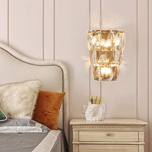 WHSS Luces de pared de oro cálido cristal lámpara de pared 30 * 38 cm lujo corredor comedor sala dormitorio cabecera estudio