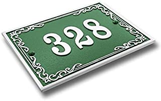 green house number plaque