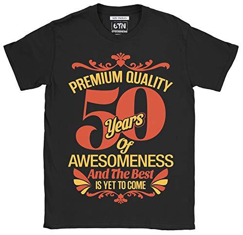 6TN Hombre 50 años de Asombroso y lo Mejor está por Llegar 50 cumpleaños Camiseta (L, Negro)