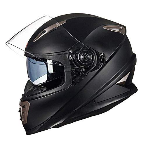 JIEKAI Motorradhelm Schwarz Matt Klapphelme Fur Motorrad Mit Sonnenblende M-XL 57-62cm Motorradhelm Schwarz Klapphelm Herren Integralhelm Helm Motocross,Matte Black-L(59-60cm)
