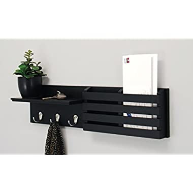 Kiera Grace Sydney Wall Shelf and Mail Holder with 3 Hooks, 24-Inch by 6-Inch, Black