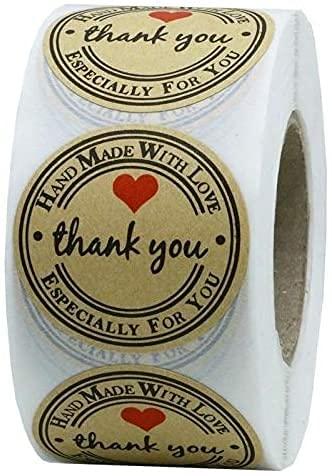 IDAWIVI Danke Aufkleber 500 Stück 1,5 Zoll Kraftpapier Etiketten Runde Thank You Sticker Danke Etiketten Selbstklebend Geschenkaufkleber Handmade Hochzeit Mitgebsel für Gäste Fest Geschenktüten