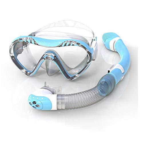 Máscara de Snorkel de Vidrio, Gafas de Buceo, Templado, Hebillas Ajustables, Equipo Completamente seco, antiniebla, para Estudiantes de 3 Colores MUMUJIN (Color : Blue)