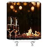 XCBN Zwei Gläser Champagner Genießen Sie das romantische & fröhliche Bild Aufhängen des Duschvorhangs Wasserdicht & schimmelresistent A1 150x200cm
