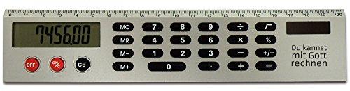 Regla con calculadora, 20 cm, ' puedes con dios... '
