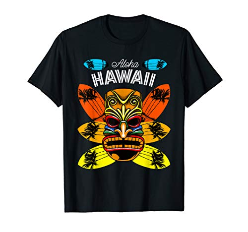 Hawaii Palm Trees Sunset Surfboard Hawaiian Islands Aloha State Mens T-shirt