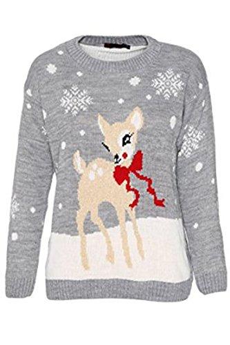 Girlzwalk Girls Christmas Novelty Baby Deer Print Knitted Jumper