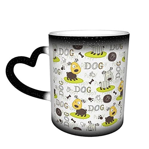 Motivo zampa di cane Tazza che cambia calore Novità Divertente Ceramica Magia sensibile al calore Tazza da caffè che cambia colore Tazza da tè al latte Regali creativi per compleanno e Natale Nero