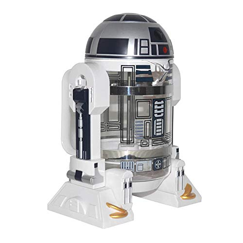 NBCDY Máquina de café Manual, cafetera Creative Robot R2D2, Mini cafetera de Filtro de Acero Inoxidable, Olla de presión para Olla de Aislamiento doméstico