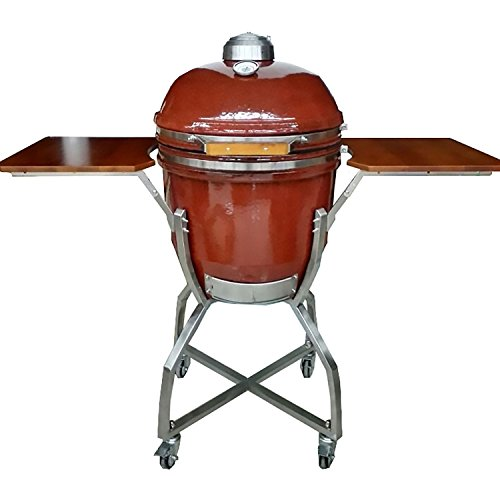 Hanover Grills HAN191KMDCS-RD 19' Ceramic Kamado Stainless Steel Cart, Red Grill