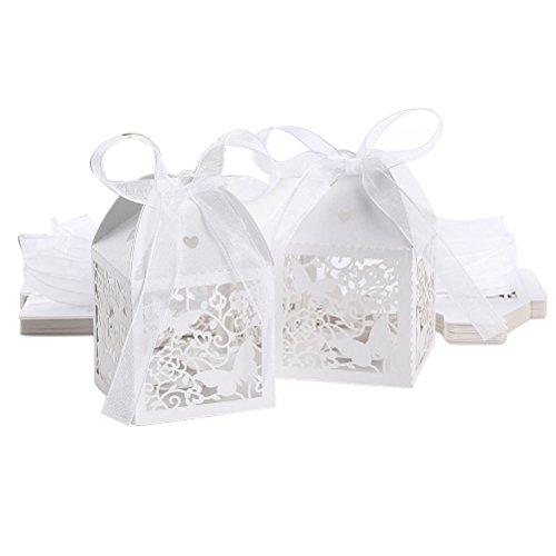 Tinksky Hollow romantica farfalla matrimonio favore scatole Nastri Bomboniere regalo scatole 50pcs (bianco)
