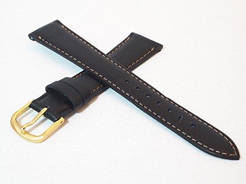 日本製 17mm 牛革カーフ素材 ブラック 黒 時計バンド ゴールド尾錠 ミモザ社 時計ベルト Made in Japan CRM-A17