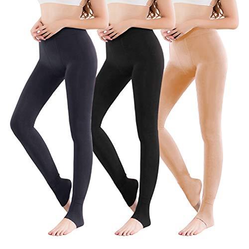 Vertvie 1/3/5er Pack Damen Thermo Strumpfhose Leggings mit Innenfleece für Herbst Winter Super Strech Warm Blickdichte Leggins (one Size, Schwarz + Hautfarbe + Grau)