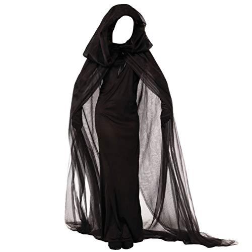KESYOO 1 Unid Disfraz de Bruja de Halloween Vestido de Fantasma Oscuro Vestido de Hechicera Accesorio de Juego de Roles para Cosplay Masquerade Performance - Sze M (Negro)